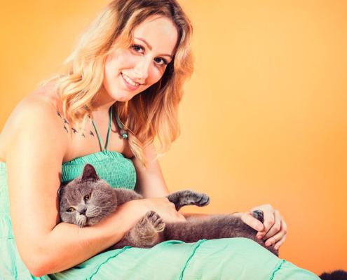 Katzenfotografie British Shorthair und Frau